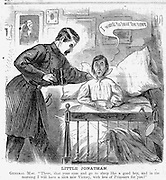 """Little Jonathan. General Mac. There, shut your eyes and go to sleep like a good boy, and in the morning I will have a nice new Victory, with lots of Prisoners for you!""  Civil War Political cartoons and advertisements  Harper's Weekly April 19, 1862 page 256"