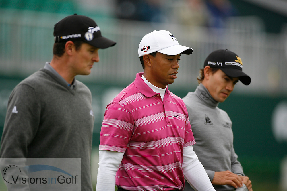 Tiger Woods Camillo Villegas and Justin Rose<br /> Picture Credit:  Mark Newcombe / www.visionsingolf.com