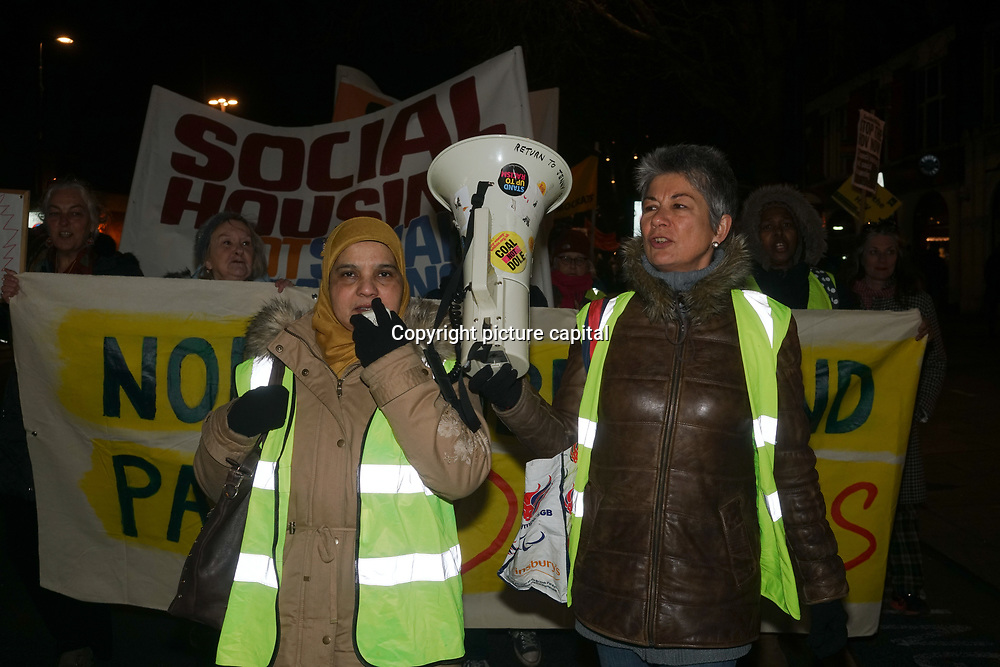 Protestors, March and Rally calling to halt the Haringey Development Vehicle at outside Haringey Civic Centre, No Demolitions, No social cleansing - Smash the HDV! on 7 Feb 2018, London, UK