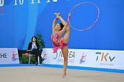 García Natalia Timofeeva during qualifying at hoop in Pesaro World Cup 10 April 2015. Natalia is a Spanish rhythmic gymnastics athlete born in Barcelona Spain on August 5, 1994.