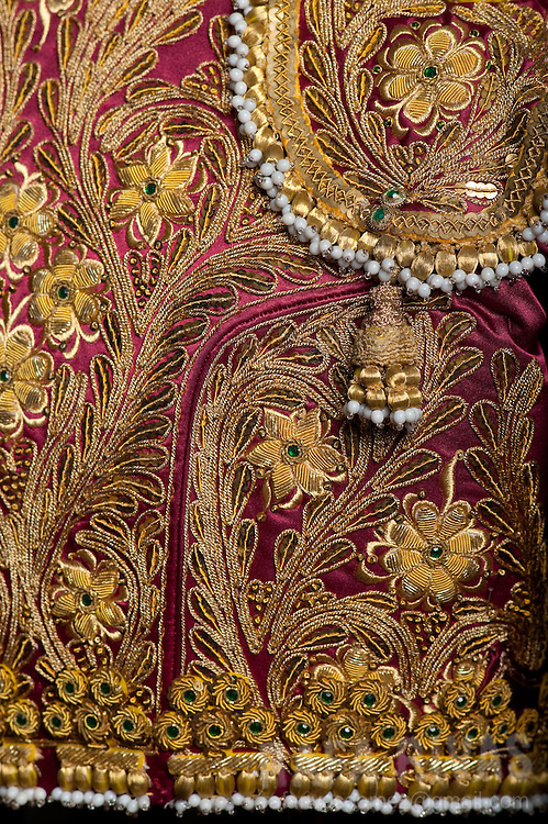 Photograph shows a detail of a matador's jacket (Chaquetilla) as part of the matador costumes collection of the Club Cocherito of Bilbao, northern Spain, on July 23, 2013.