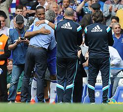 Chelsea's Didier Drogba embraces Chelsea Manager, Jose Mourinho  - Photo mandatory by-line: Alex James/JMP - Mobile: 07966 386802 - 24/05/2015 - SPORT - Football - London - Stamford Bridge - Chelsea v Sunderland - Barclays Premier League