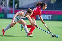 ANTWERPEN -  Ireland-Russia (3-2) . Belfius Eurohockey Championship (women) hockey. Zoe Wilson (Irl) with Evgeniia Sorokina (Rus)  WSP/ KOEN SUYK