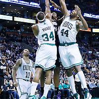 30 January 2013: Sacramento Kings power forward Jason Thompson (34) goes for the layup against Boston Celtics small forward Paul Pierce (34) and Boston Celtics power forward Chris Wilcox (44) during the Boston Celtics 99-81 victory over the Sacramento Kings at the TD Garden, Boston, Massachusetts, USA.