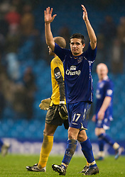 MANCHESTER, ENGLAND - Monday, February 25, 2008: Everton's Tim Cahill celebrates his side's 2-0 victory over Manchester City during the Premiership match at the City of Manchester Stadium. (Photo by David Rawcliffe/Propaganda)