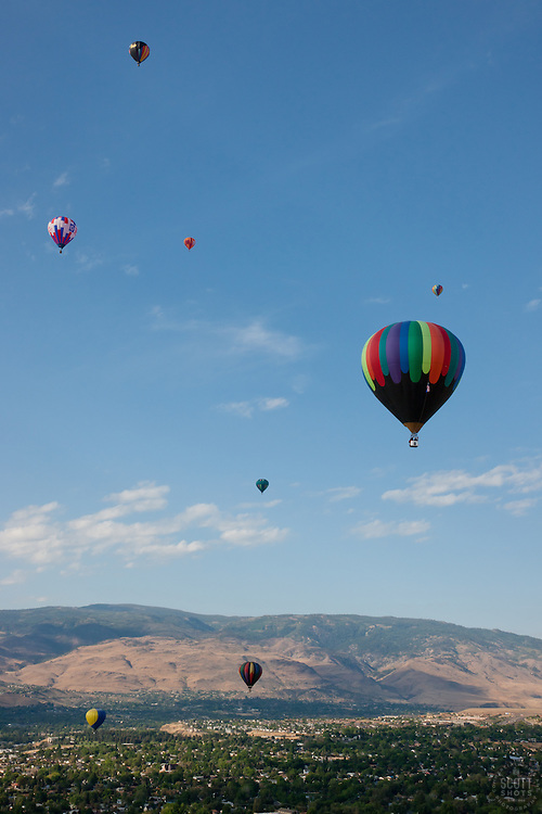 """""""Balloons over Reno 2"""" - These hot air balloons were photographed from a hot air balloon during the 2011 Great Reno Balloon Race."""