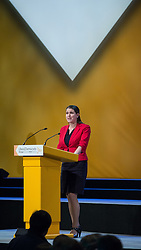© Licensed to London News Pictures . 06/10/2014 . Glasgow , UK . JO SWINSON MP delivers her speech . The Liberal Democrat Party Conference 2014 at the Scottish Exhibition and Conference Centre in Glasgow . Photo credit : Joel Goodman/LNP
