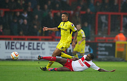 STEVENAGE, ENGLAND - Saturday, November 24, 2012: Tranmere Rovers' Liam Palmer in action against Stevenage during the Football League One match at Broadhall Way. (Pic by David Rawcliffe/Propaganda)