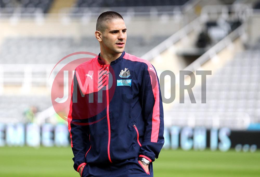 Aleksandar Mitrovic of Newcastle United inspects the pitch at St James Park - Mandatory byline: Robbie Stephenson/JMP - 20/03/2016 - FOOTBALL - ST James Park - Newcastle, England - Newcastle United v Sunderland - Barclays Premier League