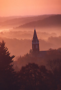 Church in morning sunrise misty mountains. Brookville, Jefferson Co., PA.