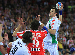 Ferenc Ilyes (3) of Hungary during 21st Men's World Handball Championship 2009 Main round Group I match between National teams of Croatia and Hungary, on January 24, 2009, in Arena Zagreb, Zagreb, Croatia.  (Photo by Vid Ponikvar / Sportida)