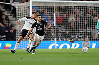 DERBY, ENGLAND - MAY 11: - DCFC vs Fulham. Curtis Davies closes down Fulham's Mitrovic