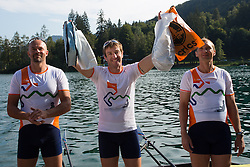 Iztok Cop with Jüri Jaanson and Vaclav Chalupa during rowing at Slovenian National Championship and farewell of Iztok Cop, on September 22, 2012 at Lake Bled, Ljubljana Slovenia. (Photo By Matic Klansek Velej / Sportida)
