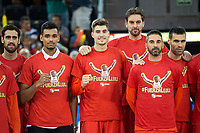 Spain's team wearing a t-shirt in honor of his injured partner Sergio Llull during friendly match for the preparation for Eurobasket 2017 between Spain and Venezuela at Madrid Arena in Madrid, Spain August 15, 2017. (ALTERPHOTOS/Borja B.Hojas)