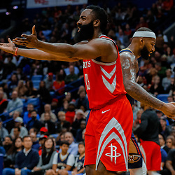 Jan 26, 2018; New Orleans, LA, USA; Houston Rockets guard James Harden (13) reacts after loosing the ball out of bounds during the second quarter against the New Orleans Pelicans at the Smoothie King Center. Mandatory Credit: Derick E. Hingle-USA TODAY Sports