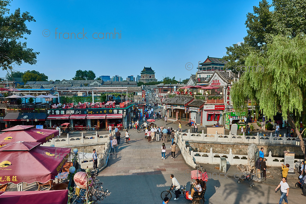 Beijing , China - September 24, 2014:  Chinese traditional Yindingqiao Hutong streets with people and tourist Beijing China