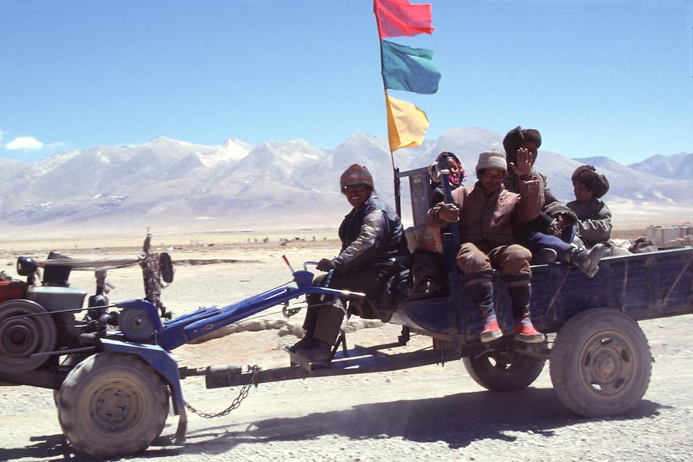 Tractor on Tibetan Plateau