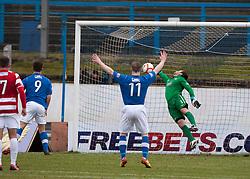 Cowdenbeath's Craig Moore scoring their goal past Hamilton's Kevin Cuthbert..half time : Cowdenbeath v Hamilton, 9/3/2013..©Michael Schofield..