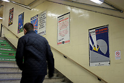 © Licensed to London News Pictures. 03/12/2011, London, UK. Poster leading to the stations platform's. Staff working at Richmond Station in London have uncovered railway posters from the late 1980's whilst upgrading poster holders. Photo credit : Stephen Simpson/LNP
