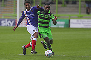 Exeter City's Reuben Reid(33) and Forest Green Rovers Dale Bennett(2) during the EFL Sky Bet League 2 match between Forest Green Rovers and Exeter City at the New Lawn, Forest Green, United Kingdom on 9 September 2017. Photo by Shane Healey.