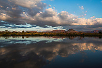 Cloud reflections in the Marataba River,   Marataba Private Game Reserve, Limpopo, South Africa
