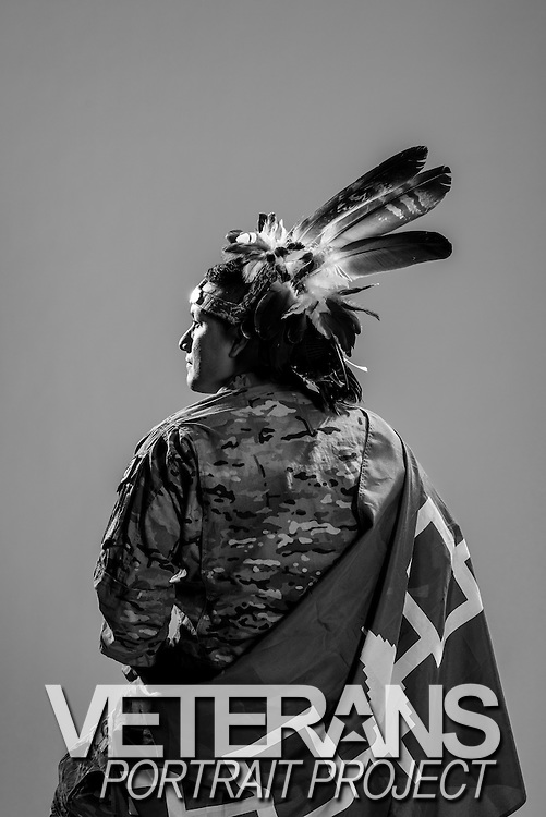 "Philip George, a Mohawk Native American, hails from Canada originally. Not only did he serve as an Army infantryman from 2009 to 2013, he deployed to Afghanistan twice. He's now enrolled at Syracuse University where he studies Political Science. His goal upon graduating is sharing the plight of Native Americans with the world in hopes to raising awareness of the importance of preserving and sustaining the heritage of the American Native people. When asked what his fondest military memory was he said, ""The home coming ceremony where I returned home to my daughter."" <br />