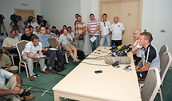 PODGORICA, MONTENEGRO - Thursday, September 2, 2010: Wales' captain Craig Bellamy faces the media during a press conference at the Hotel Podgorica ahead of the UEFA Euro 2012 Qualifying Group 4 match against Montenegro. (Pic by David Rawcliffe/Propaganda)