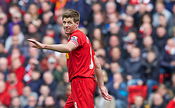LIVERPOOL, ENGLAND - Sunday, May 11, 2014: Liverpool's captain Steven Gerrard looks dejected as his side win 2-1 against Newcastle United during the Premiership match at Anfield. (Pic by David Rawcliffe/Propaganda)