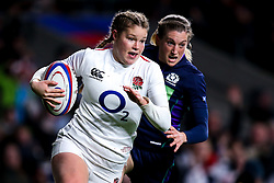 Jess Breach of England Women goes past Annabel Sergeant of Scotland Women - Mandatory by-line: Robbie Stephenson/JMP - 16/03/2019 - RUGBY - Twickenham Stadium - London, England - England Women v Scotland Women - Women's Six Nations