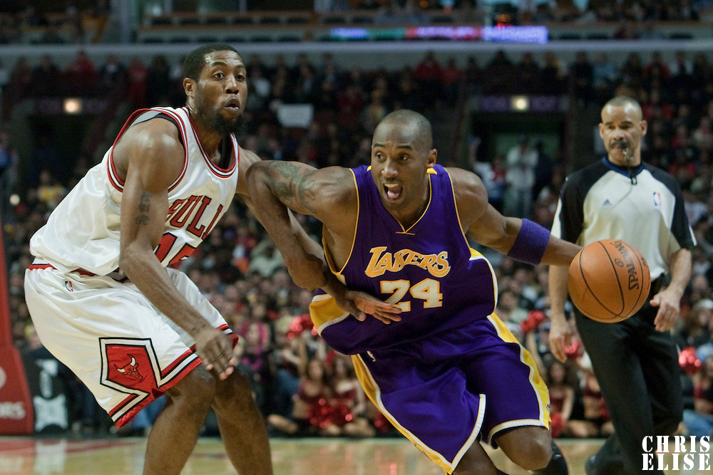15 December 2009: Los Angeles Lakers guard Kobe Bryant drives past Chicago Bulls guard John Salmons during the Los Angeles Lakers 96-87 victory over the Chicago Bulls at the United Center, in Chicago, Illinois, USA.