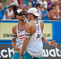04.08.2011, Klagenfurt, Strandbad, AUT, Beachvolleyball World Tour Grand Slam 2011, im Bild Clemens Doppler, Matthias Mellitzer AUT , EXPA Pictures © 2011, PhotoCredit EXPA Gert Steinthaler