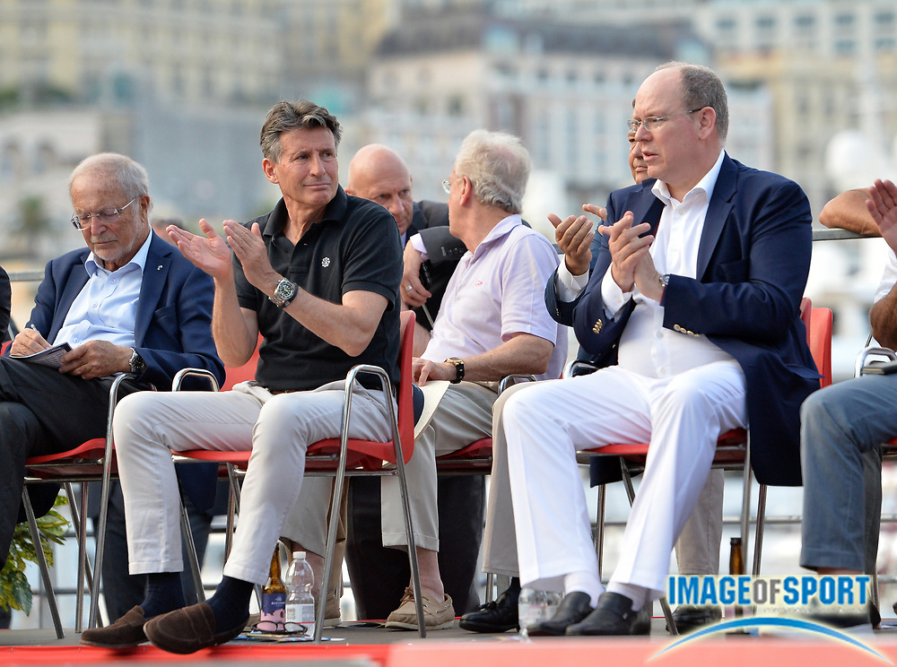 IAAF president Sebastian Coe  (left) and Prince Albert II aka Albert Alexandre Louis Pierre Grimald watch during the women's triple jump in the  Herculis Monaco in an IAAF Diamond League meet , Thursday, July 11, 2019, in Port Hercules, Monaco.(Jiro Mochizuki/Image of Sport)