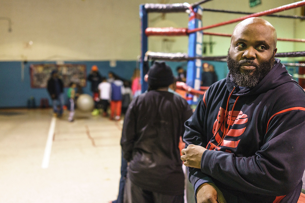 Baltimore, Maryland - January 26, 2017: Coach Kenny Ellis, 49 at the Upton Boxing Club in Baltimore. Ellis and Calvin Ford both coach Gervonta Davis, the current IBF Junior Lightweight champion.<br /> <br /> <br /> CREDIT: Matt Roth for The New York Times<br /> Assignment ID: 30201545A