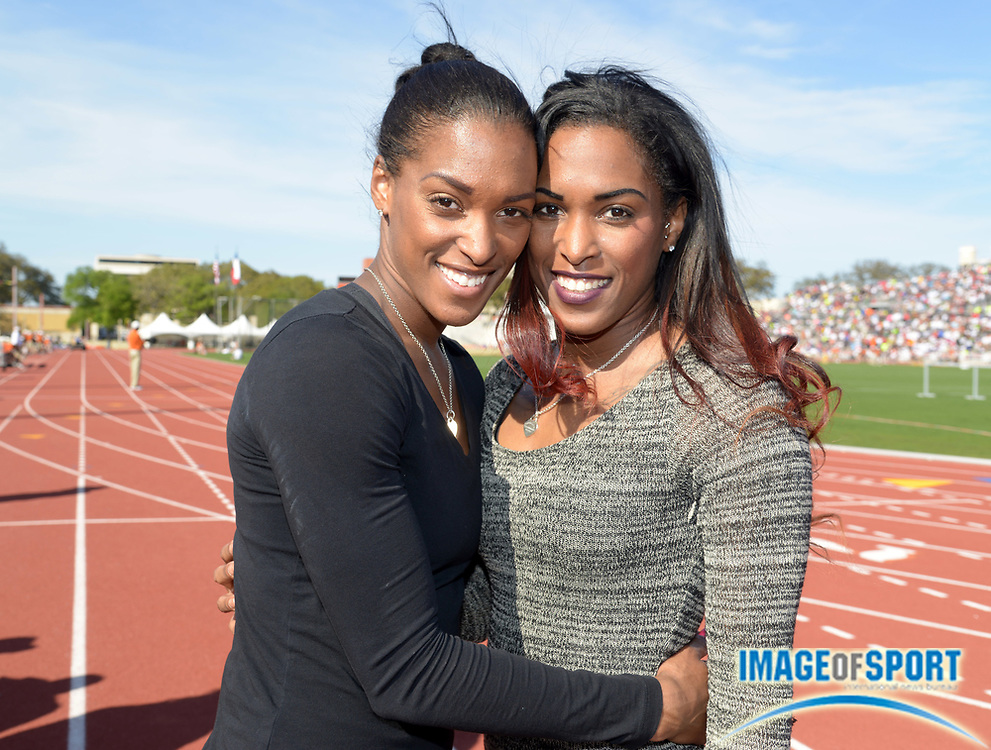 Mar 29, 2014; Austin, TX, USA; Tameka Jameson (left) and Takecia Jameson pose at the 87th Clyde Littlefield Texas Relays at Mike A. Myers Stadium.