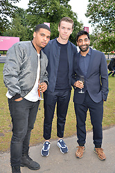 Left to right, actor KOLA BOKINNI, actor WILL POULTER and ATUL PATHAK at a party hosted by fashion store COS to celebrate The Serpentine Park Nights 2016 held at The Serpentine Gallery, Kensington Gardens, London on 12th July 2016.
