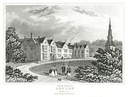 John Dryden (1631-1700)  English poet. Dryden's birthplace at Aldwinkle, Northamptonshire. Engraving