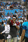Carolina Panthers quarterback Cam Newton (1) calmly throws a pass during Fan Fest at Bank of America Stadium, Friday, Aug. 2, 2019, in Charlotte, NC. (Brian Villanueva/Image of Sport)