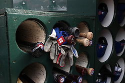 OAKLAND, CA - APRIL 07:  General view of baseball bats, gloves and helmets belonging to the Texas Rangers in the dugout before the game against the Oakland Athletics at O.co Coliseum on April 7, 2015 in Oakland, California. The Texas Rangers defeated the Oakland Athletics 3-1. (Photo by Jason O. Watson/Getty Images) *** Local Caption ***