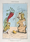 Franco-Prussian War 1870-1871: Siege of Paris 19 Sept 1870-28 Jan 1871. The humble carrot and potato raised to the status of princesses as food became shorter. From 'Paris Bloque', Faustin Betbeder.  France Germany