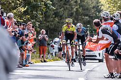 08.07.2019, Wiener Neustadt, AUT, Ö-Tour, Österreich Radrundfahrt, 2. Etappe, von Zwettl nach Wiener Neustadt (176,9 km), im Bild v.l.: Sebastian Schoenberger (Neri Selle Italia KTM, AUT), Matthias Krizek (Team Felbermayr Simplon Wels, AUT) // v.l.: Sebastian Schoenberger (Neri Selle Italia KTM, AUT), Matthias Krizek (Team Felbermayr Simplon Wels, AUT) during 2nd stage from Zwettl to Wiener Neustadt (176,9 km) of the 2019 Tour of Austria. Wiener Neustadt, Austria on 2019/07/08. EXPA Pictures © 2019, PhotoCredit: EXPA/ JFK