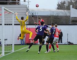 Bristol City's Luke Ayling heads over  - Photo mandatory by-line: Joe Meredith/JMP - Mobile: 07966 386802 - 25/01/2015 - SPORT - Football - Bristol - Ashton Gate - Bristol City v West Ham United - FA Cup Fourth Round