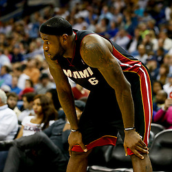 Oct 23, 2013; New Orleans, LA, USA; Miami Heat small forward LeBron James (6) against the New Orleans Pelicans during the second half of a preseason game at New Orleans Arena. The Heat defeated the Pelicans 108-95. Mandatory Credit: Derick E. Hingle-USA TODAY Sports