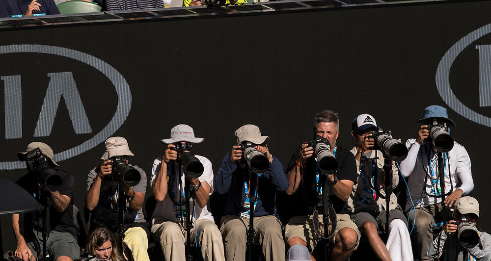Photographers on day nine of the 2018 Australian Open in Melbourne Australia on Wednesday January 24, 2018.<br /> (Ben Solomon/Tennis Australia)