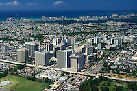 Aerial view of Hato Rey's financial district; San Jose lagoon and Isla Verde in the background