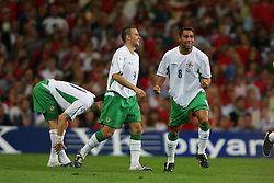 CARDIFF, WALES - Wednesday, September 8, 2004: Northern Ireland's Jeff Whitley celebrates scoring the opening goal against Wales during the Group Six World Cup Qualifier at the Millennium Stadium. (Pic by David Rawcliffe/Propaganda)