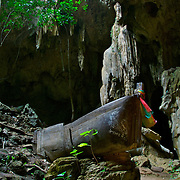 Tham Chaloei or Captives Cave. A cave used during the second world war in the death railway scenario of Kanchanaburi, Thailand. The cave is now a local shrine rarely visited by non-locals.