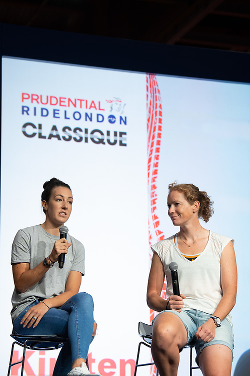 Cyclists Danielle Rowe &amp; Kirsten Wild talk on stage at The Cycling Show at Excel London. Friday 27th July 2018.<br /> <br /> Photo: Thomas Lovelock for Prudential RideLondon<br /> <br /> Prudential RideLondon is the world's greatest festival of cycling, involving 100,000+ cyclists - from Olympic champions to a free family fun ride - riding in events over closed roads in London and Surrey over the weekend of 28th and 29th July 2018<br /> <br /> See www.PrudentialRideLondon.co.uk for more.<br /> <br /> For further information: media@londonmarathonevents.co.uk