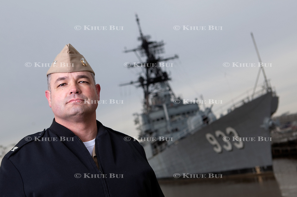 Cant. Michael Abreu is pictured in front of the Display Ship Barry (formerly DD-933) at the Washington Navy Yard Wednesday, January 20, 2016, in Washington, DC.<br /> <br /> Photo by Khue Bui