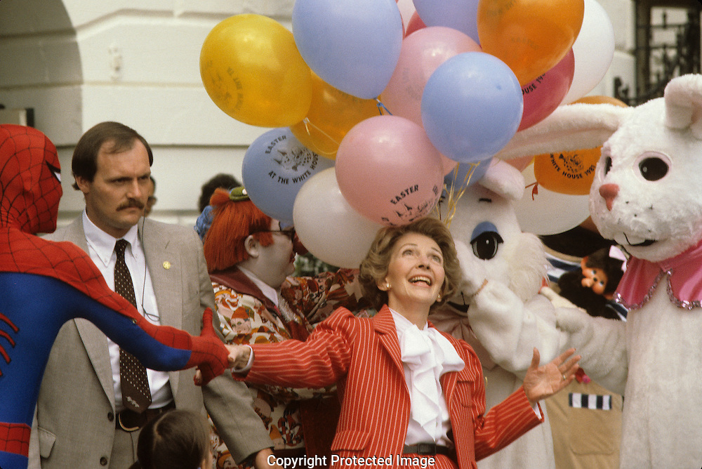 First Lady Nancy Reagan at the White House Easter Egg Roll in 1980...Photograph by Dennis Brack bb24