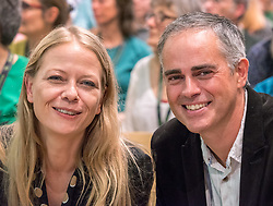 © Licensed to London News Pictures. 05/10/2018. Bristol, UK. Green Party Autumn Conference, held at Bristol City Hall. Co-leaders SIAN BERRY and JONATHAN BARTLEY. The key note speech by Co-leaders Sian Berry and Jonathan Bartley. Photo credit: Simon Chapman/LNP